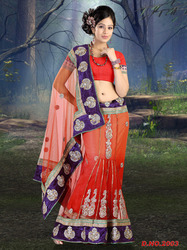 Beautiful Designer Net Lehenga Velvet Border Saree
