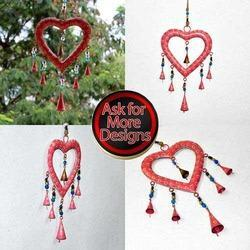 Recycled Iron Sheet Heart with Bells Wind Chimes for Garden