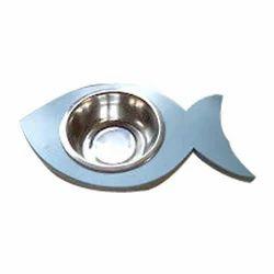 Wooden Fish Shape Pet Bowl