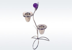 Silver Designer Candle Stand
