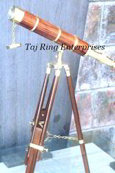 Floor Wood Brass Telescope