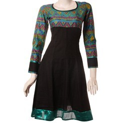 Black+Cotton+Jacquard+Anarkali