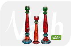 Vaah Colored Wooden Candle Stands