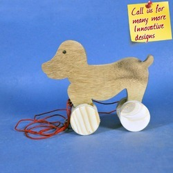 Puppy - Wooden Pull Toy - Natural Wooden Finish