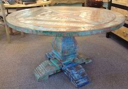 Colorful Reclaimed Wood Round Dining Table
