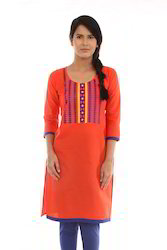 Red Geomtric Embroidery Kurta With Royal Blue Piping