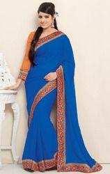 Blue+Color+Jacquard+Saree+with+Blouse