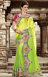 Green+and+Yellow+Color+Art+Silk+Saree+with+Blouse