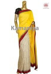 Yellow Matka Silk Saree