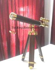 Brass Telescope With Wooden Stand