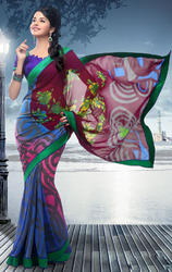 Blue+Pink+And+Wine+Faux+Georgette+Saree+With+Blouse
