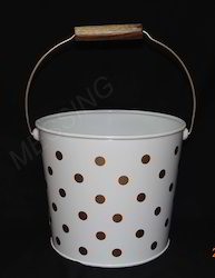 Metal Bucket with Gold Polka Design