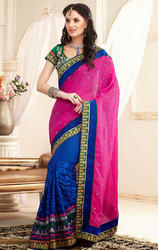 Blue+%26+Pink+Color+Chanderi+Cotton+Silk+Saree+with+Blouse