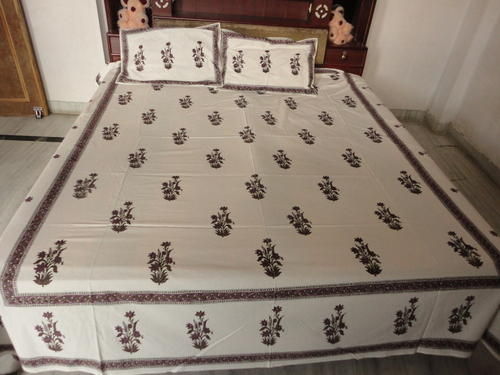 Hand Block Print Cotton Fabric Bed Sheet