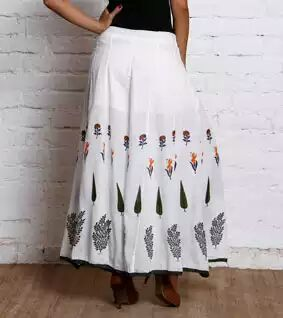 Cotton Hand Block Print Skirt
