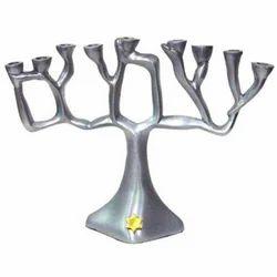 Brass Menorah Candle Holder