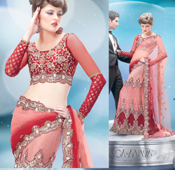 Spectacular Red And Gajri Lehenga Saree