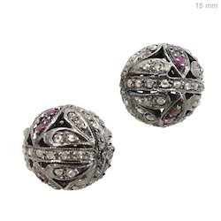 925 silver diamond ruby beads finding