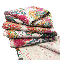 White Tropicana Fruit Print Kantha Quilts