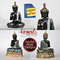 Meditating Poly Resin Buddha Statue with Crown