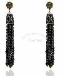 Black+Tassel+Gemstone+Earrings