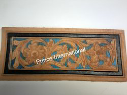 vegetable tanned harness leather tooled engraved