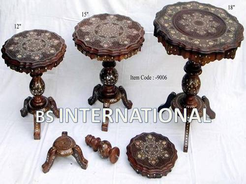 Wooden Crafts Wooden Inlay Bone Tables Exporter From Moradabad