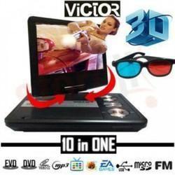 9 8 3d portable evd dvd with led screen usb tv