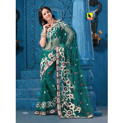 Net Embroidered Work Sarees