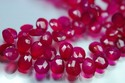 Hot Pink Chalcedony Pear Shape Briolettes, Size 11-13 mm App