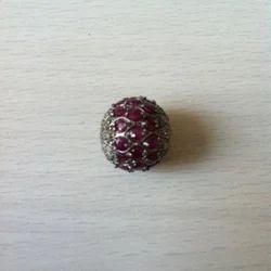 Ruby And Diamonds Pave Beads