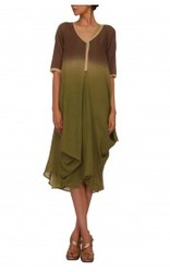 Woolen Ombre Dress With Viscose Georgette Slip