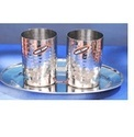 Steel 2 Pcs. Glass Hammed W/Oval Tray