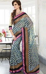 Blue+Color+Net+Brasso+Saree+with+Blouse