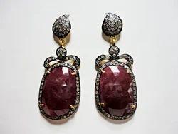 Silver Diamond Sapphire Earings