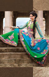 Green+and+Light+Blue+Color+Faux+Georgette+Saree+with+Blouse