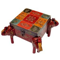Wooden Embossed Square Elephant Box