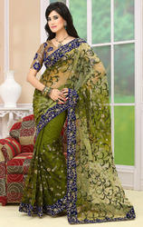 Shaded+Mehandi+Green+Color+Net+Sarees+with+Blouse