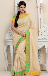 Cream+Color+Tissue+Net+Saree+with+Blouse