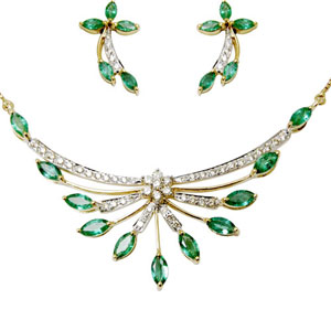 Designer Gold Necklace Emerald Set, Diamond Pendant Set
