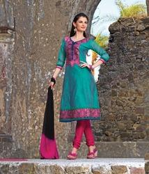 Cadet Blue Cotton Embroidered Un-Stitched Salwar Suit