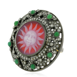 Pave Diamond Emerald Gemstone Cameo Ring