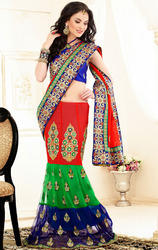 Blue+Green+and+Red+Faux+Georgette+and+Net+Saree+with+Blouse