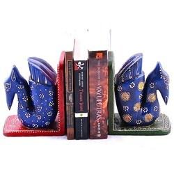 painted set of book ends swans