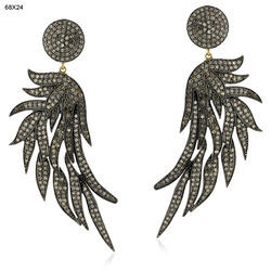 14k Gold Diamond Feather Earrings Jewelry
