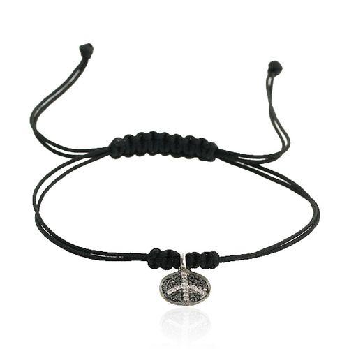 Black Diamond Peace Charm Macrame Bracelet