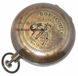 Boy Scouts Brass Compass - Push Button