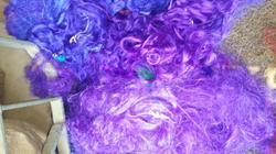 Sari Silk Waste In Solid Colors For Spinners, Fiber Artisans