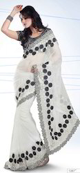 Net Saree with Exclusive Pat-1200