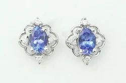 Tanzanite Diamond Silver Earring